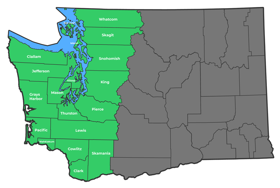 Service area map of Evergreen Home Exteriors