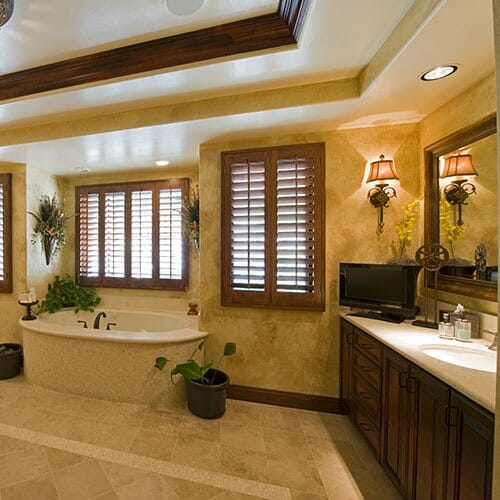 renovated bathroom with a stained wood theme