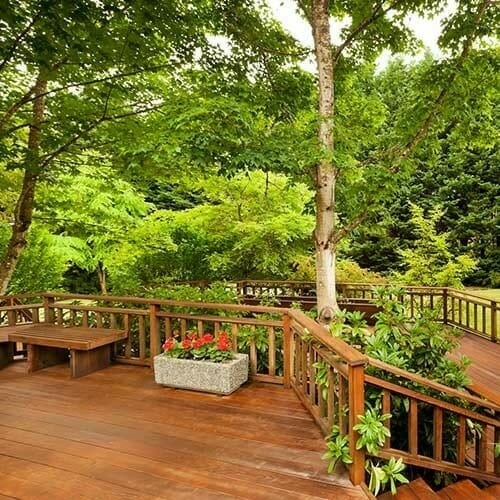 renovated multi-tiered home deck close to nature