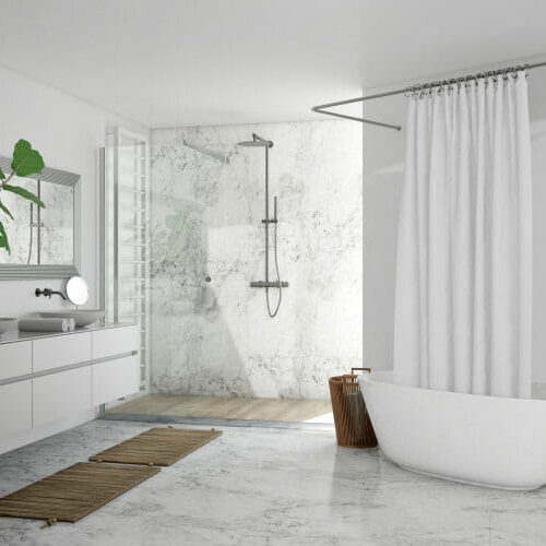 white marble bathroom remodeled by contractors in portland oregon