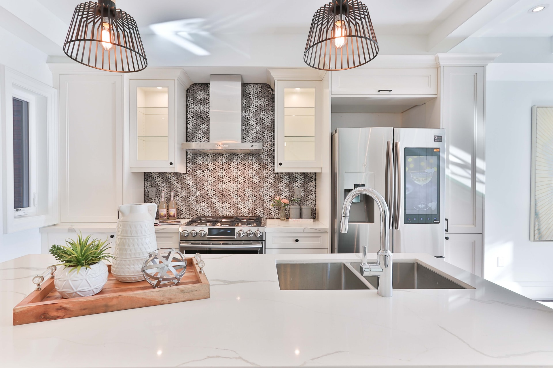 A remodeled kitchen, fully decorated